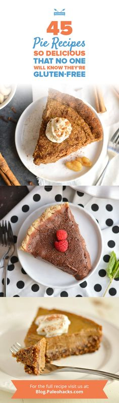 45 Pie Recipes So Delicious That No One Will Know They're Gluten-Free - Gumsulhca Raspberry Cream Pies, Lemon Cream Pies, Chocolate Silk Pie, Paleo Chocolate, Paleo Peanut Butter, Pumpkin Chiffon Pie, Mixed Berry Pie, Coconut Custard Pie, Cream Pie Recipes