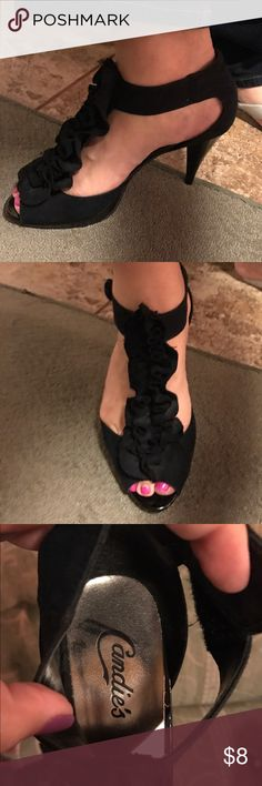 Black candies heels Used condition with signs of normal wear and tear.  Used about 3 times but these heels have lots of life left!  Very comfortable.  I love these but after pregnancy my foot grew! Candie's Shoes Heels
