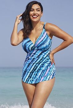 0e34282258 One Piece - Shore Club Infinite Plunge Sarong Front Swimsuit Plus Size  Swimsuits