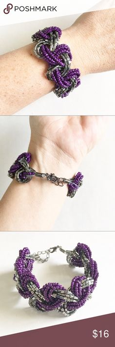 Purple and silver twisted beaded bracelet Purple and silver twisted beaded bracelet Jewelry Bracelets