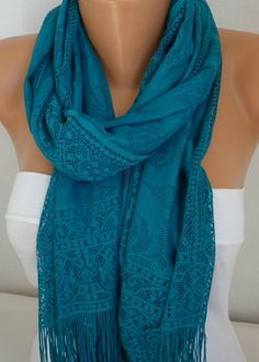 Teal Tulle Scarf  - Shawl Women Scarf - Cowl Scarf - Bridesmaid Gift  Women's Fashion Accessories