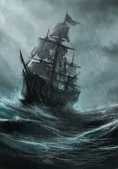 The Flying Dutchman Pirate Art, Pirate Life, Pirate Ships, Stürmische See, Bateau Pirate, Sea Storm, Old Sailing Ships, Flying Dutchman, Ship Paintings
