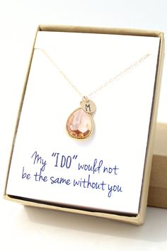 This delicate peach champagne necklace can be personalized for each of your bridesmaids! They'll want to wear it everyday. :)