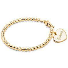 3mm Tiny Blessings Beads, Baby/Children's Beaded Bracelet (Includes Engravable Heart Charm) - 14K Gold