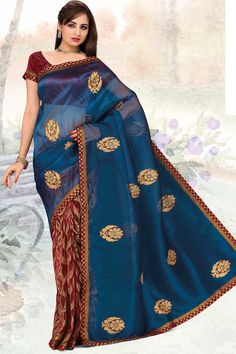 Yale Blue and Carmine Red Organza Silk Embroidered Saree.