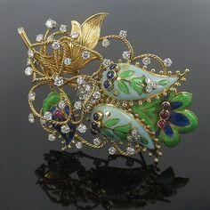 Vintage Tiffany & Co 5ct Diamond Sapphire & Ruby Enamel Floral 18K Brooch
