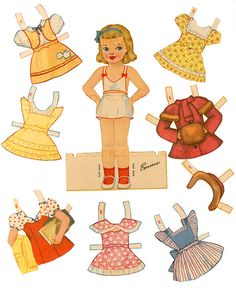 Emma<<>>Emma with blonde hair and blue eyes has colorful jackets, party frocks with Peter Pan collars, snow suit, cheerleader, school clothes, hats, her baby doll and more. 19 costumes with many accessories as well as 2 retro illustrations of Emma 3 of 4