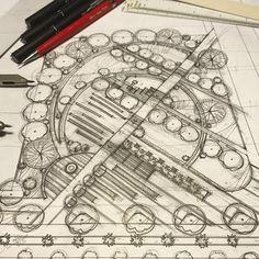 Ideas for landscape architecture masterplan drawing ideas Villa Architecture, Landscape Architecture Drawing, Landscape Sketch, Landscape Concept, Landscape Plans, Landscape Drawings, Cool Landscapes, Urban Landscape, Sketch Architecture