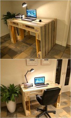 Wood pallets 798403840175380555 - Beste DIY Holzpaletten Repurposing Ideen Source by Study Table Designs, Study Room Design, Diy Study Table, Pallet Office Ideas, Furniture Projects, Diy Furniture, Diy Projects, Furniture Assembly, Unique Furniture