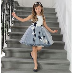 Navy Blue & White Floral Embroidered Dress, Lesy, Girl