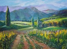 California wine country oil painting entitled #Napa #Road is a beautiful work of art. $595