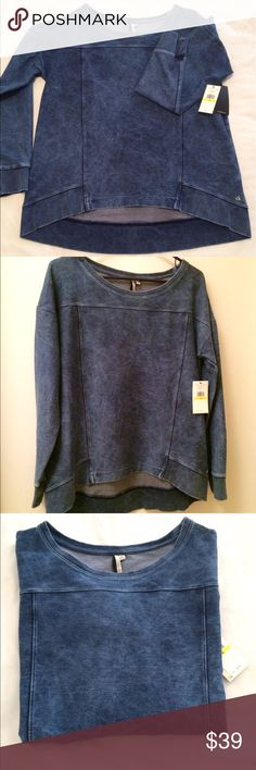 🆕 Denim Colored  Hi Lo top New never worn Calvin Klein oversized long sleeve comfortable boxy top for snuggling up or layering!  Gorgeous in person.  Pics don't do it justice!  Retail for 69 Calvin Klein Collection Tops
