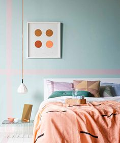 Sarah Ellison for Real Living May 2013 Linen blanket - pink wall tape - gold mirror all from The Minimalist