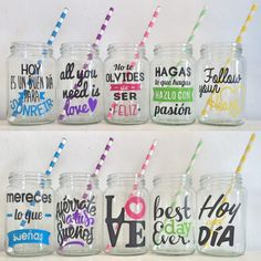 I like the yellow one Ideas Para Fiestas, Silhouette Projects, Party Time, Decoupage, Mason Jars, Diy And Crafts, Baby Shower, Gifts, Vinyls