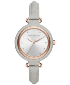 A|X Armani Exchange Women's Gray Leather Strap Watch 38mm AX4235