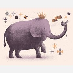 King Elephant Print Lavender now featured on Fab.
