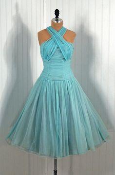 Vintage 1950s Aqua Ruched Halter Dress