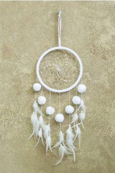 White Pom Pom Dreamcatcher