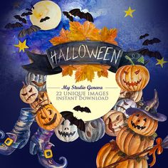 Halloween clipart Halloween watercolor clipart by MyStudioGeneva  #Halloween  #CraftSupplies #WatercolorHalloween ClipArt https://www.etsy.com/listing/486097119