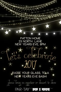 free new years party invitation template- this blog has a bunch of free party resources like this!