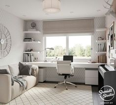 45 Fantastic Computer Gaming Room Decor Ideas and Design - Googodecor Guest Room Office, Home Office Space, Home Office Design, Home Office Decor, Small Bedroom Office, Bedroom Office Combo, Sunroom Office, Cozy Home Office, Small Space Office