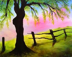 Sweet little field, fence and tree painting with pink sky. Wine and Canvas Easy Paintings, Landscape Paintings, Canvas Paintings, Diy Canvas, Canvas Art, Canvas Ideas, Painting & Drawing, Watercolor Paintings, Wine And Canvas