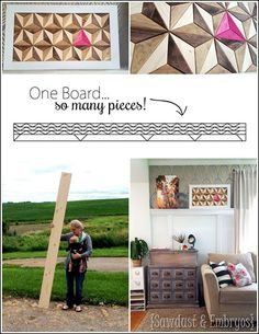 3d Illusion Geometric Artwork made from JUST ONE BOARD! {Sawdust and Embryos}