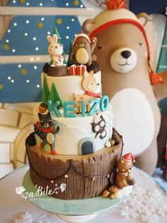 Unbelievable cake at a winter woodland birthday party! See more party ideas at CatchMyParty.com!