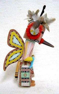 """Hopi Carved 8.5"""" Old Style Butterfly Kachina Doll Sculpture by Bryan Nasetoynewa"""