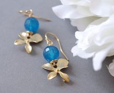 Sapphire Color Agate Earrings Gemstone Orchid by SarahOfSweden