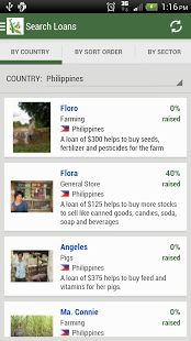Kiva Search 1.09  **Search By Country  **Search By Sort Order **Search By Sector  **Search By Partner  **Set which tab opens first in the settings screen