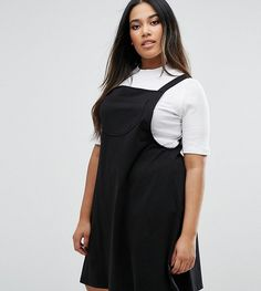 Get this Asos Curve's basic dungarees now! Click for more details. Worldwide shipping. ASOS CURVE Column Pinafore Dress - Black: Plus-size dress by ASOS CURVE, Stretch jersey, Square neck, Classic pinafore design, A-line skirt, Regular fit - true to size, Machine wash, 96% Cotton, 4% Elastane, Our model wears a UK 18/EU 46/US 14 and is 170cm/5'7 tall, Top not included. Say goodbye to awkward-fitting plus-size fashion with our ASOS CURVE collection. Giving shout-outs to denim, occasionwear…