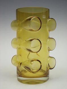 Riihimaki 'Pablo' amber coloured cased glass vase by Erkkitapio Siiroinen