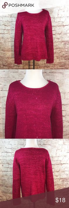 """Narciso Rodriguez for Design Nation Sweater Berry colored soft holiday sweater with sequins, a crew neckline and long sleeves.  Acrylic/Polyester. Size Medium. Bust 22"""". Length 23"""". Like new condition no flaws or signs of wear Narciso Rodriguez Sweaters Crew & Scoop Necks"""