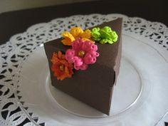 Dark Chocolate Iced Cake Favor Box With Citrus by bellanordesigns, $4.25