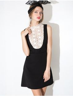 Alexa high lace collar dress