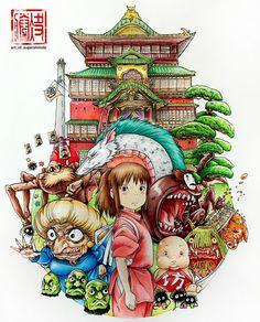 Spirited Away Tatuaje Studio Ghibli, Studio Ghibli Tattoo, Studio Ghibli Art, Tattoo Studio, Hayao Miyazaki, Totoro, Anime Disney, Desenhos Halloween, Studio Ghibli Background