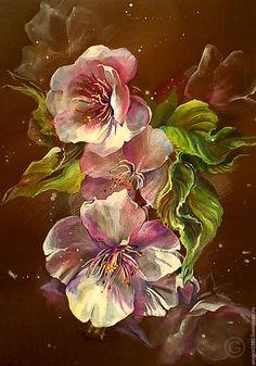 Нежные белые и розовые цветы на мягком коричневом фоне. Темпера на бумаге или масло на холсте.