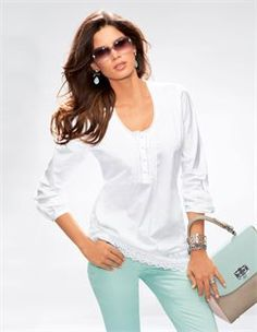 ♥✤ Madeleine ♥✤ White Tunic / Mint Pants