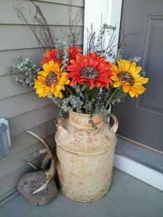 Modern rustic fall front porch decor