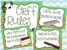 Orff Instrument Posters: Labels, Set-Ups, and Rules Music Classroom Posters, General Music Classroom, Music Posters, Future Classroom, Music Lesson Plans, Music Lessons, Music Anchor Charts, Orff Activities, Music Bulletin Boards