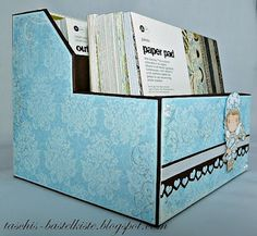 "Instructions on how to build a magazine file from chipboard. Can be used to store your self-made cards or stamped images,  also size's given to make it smaller to store your 6x6"" paper pads"