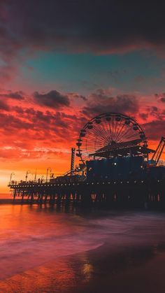 """cursing-wookiee: """"lsleofskye: """"Santa Monica, California """" Erica Kruk-heart this is where I wanted to take you but didn't have enough time 🙁 """" Ahhhh! Beautiful Sunset, Beautiful World, Beautiful Places, Tumblr Wallpaper, Wallpaper Wallpapers, Iphone Wallpapers, Wallpaper Pictures, Iphone Backgrounds, Wall Wallpaper"""