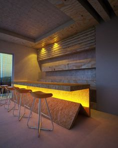 RWS: I believe a strong yellow coloured lighting could add a lot to the bar. Use with a 10% highlight of yellow furniture (placemats etc.)  Kuttham restaurant 37 600x750 Kuttham restaurant \ Estudio 257