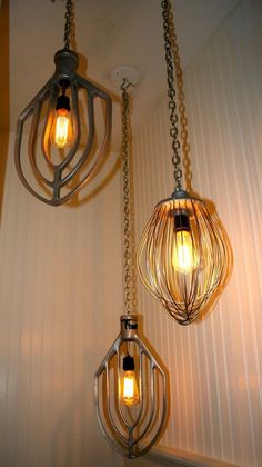 vintage kitchen beaters upcycled as lighting by josie