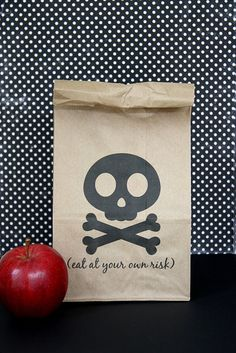 """Printable lunch bags for Halloween. So fun! I've also printed these labels to use on Halloween """"food gifts"""" too."""