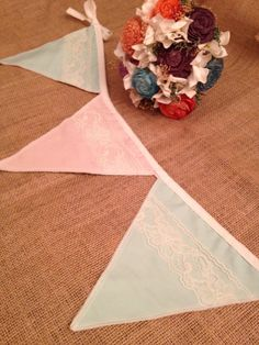 Peach Mint and lace fabric bunting 8 foot strands by BlessedinLove, $45.00