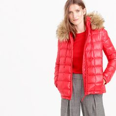 "Raise your hand if you hate being cold. Yeah, thought so. This cozy puffer jacket is stuffed with down—so it keeps in precious extra degrees—and comes finished with a deep hood trimmed in fluffy faux fur. Our favorite detail? Fleece-lined pockets.<ul><li>Cut for a boxy fit.</li><li>Hits at hip.</li><li>Body length: 24 3/4"".</li><li>Sleeve length: 33 1/2"".</li><li>Poly, down fill.</li><li>Hooded.</li><li>Zip closure.</li><li>Pockets.</li><li>Machine wash.</li><li>Import.</li><li>Online…"