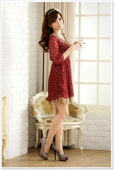 wholesale japanese dress k8309 Red [k8309] $11.69 : Yuki Wholesale Clothing - Wholesale Korean Fashion,Japanese Clothing Wholesale,Wholesale Handbags