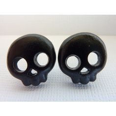 Black Skull Stud Earrings, Halloween Skull Earrings, Skeleton Earrings, Post Earrings, Polymer Clay Skull Cabochons, Nickel Free Posts